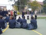生徒集会で生徒代表挨拶